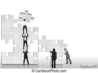 towarzysz, praca, handlowy, razem