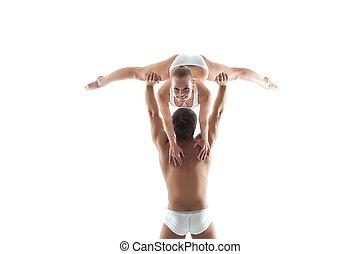towarzysz, uśmiechanie się, przedstawianie, akrobata, nachylenie