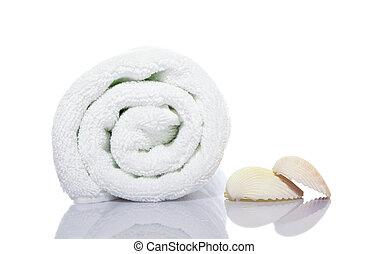 towel and shells