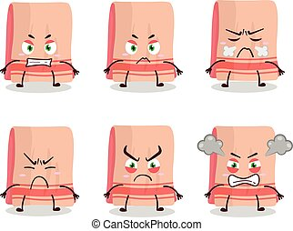 Towel cartoon character with various angry expressions
