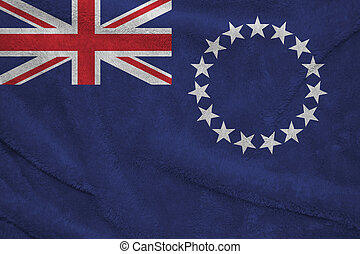 Towel fabric pattern flag of Cook Islands. Blue ensign with a ring of star and union jack.