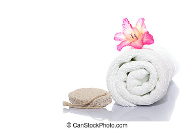 towel, gladiola and pumice