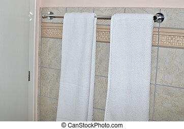 Towel holder in the bathroom
