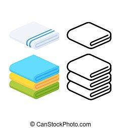 towel icons set - Set of towel vector illustrations. Folded...