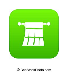 Towel on a hanger icon digital green for any design isolated...