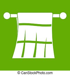Towel on a hanger icon green - Towel on a hanger icon white...