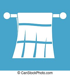 Towel on a hanger icon white