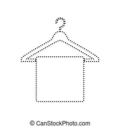 Towel On Hanger sign. Vector. Black dotted icon on white background. Isolated.