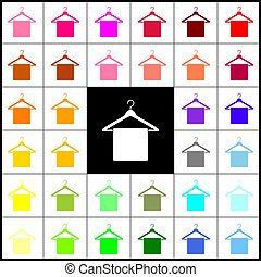 Towel On Hanger sign. Vector. Felt-pen 33 colorful icons at white and black backgrounds. Colorfull.