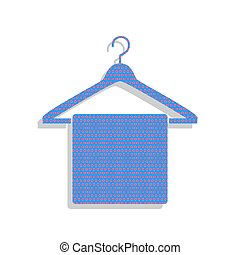 Towel On Hanger sign. Vector. Neon blue icon with cyclamen polka