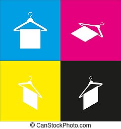 Towel On Hanger sign. Vector. White icon with isometric projections on cyan, magenta, yellow and black backgrounds.