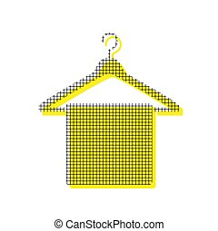 Towel On Hanger sign. Vector. Yellow icon with square pattern du