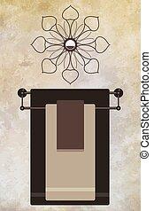 Towel Rack - Fancy towel rack below decorative mirror