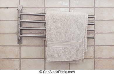 Towel rack in a modern bathroom