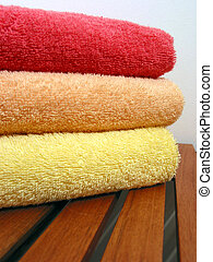Towel stack 6 - Stack of bright colorful clean towels on a...