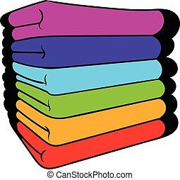Towel stack icon, icon cartoon