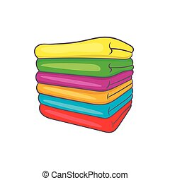 Towel stack icon in cartoon style
