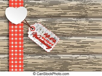 Towel Wood Hearts Price Sticker Valentinstag - White paper...