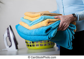 Towels and clothes to iron