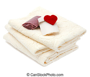 towels and soap - Three bath towels and handmade soap...