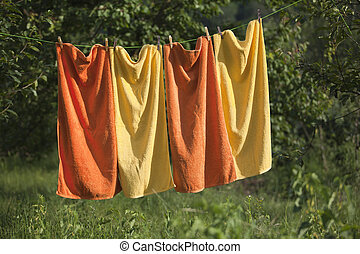 towels drying on the clothesline