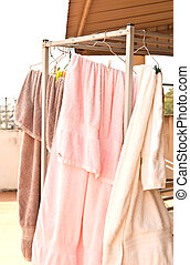 Towels on a clothesline