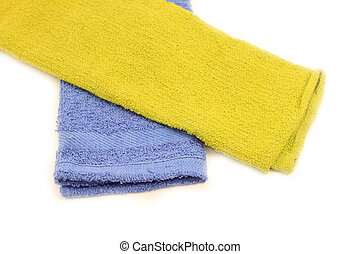 Towels over white background