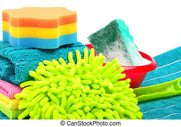 Towels, sponge, microfiber, bowl, supplies for cleaning, ...