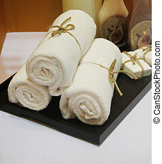 White towels and soap
