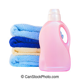 Towels with detergent - Towels with detergent isolated on...
