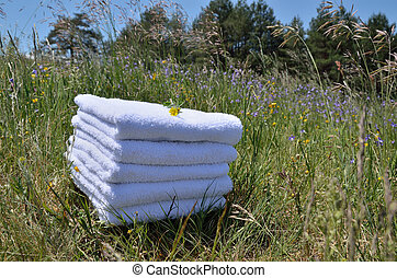 Towels with wild flowers