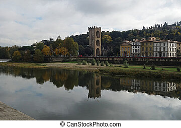tower along Arno River, Florence, Italy