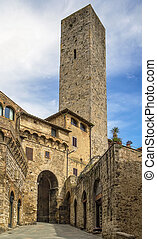 Tower and gate in San Gimignano, Italy