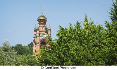 Tower and Golden Domes of Eastern Orthodox Monastery in Kiev...