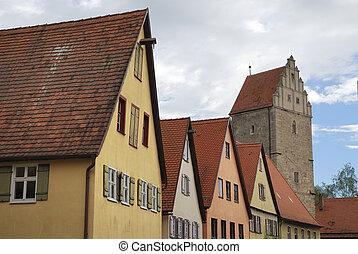Dinkelsb?hl - Tower and old houses in Dinkelsb?hl...