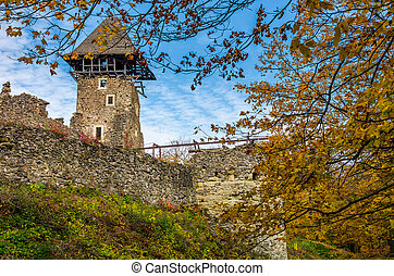 tower and wall of Nevytsky Castle - Nevytsky Castle, Ukraine...