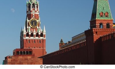 Tower at Red Square and Lenins mausoleum in Moscow.