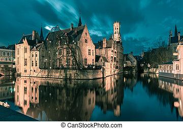 Tower Belfort from Rozenhoedkaai in Bruges