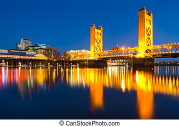 Tower Bridge at night in Sacramento California