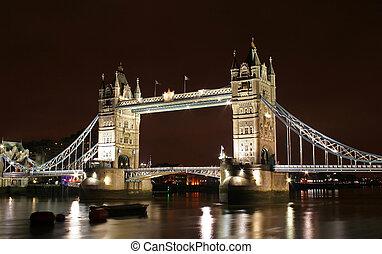 tower bridge at night - tower bridge at London, UK during ...