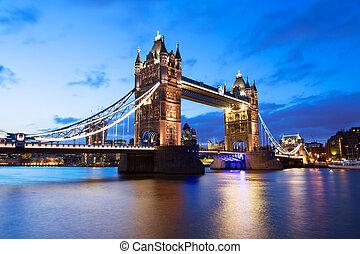 Tower Bridge at night twilight London
