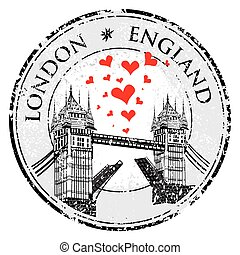 Tower Bridge grunge stamp with hearts, vector illustration , London vector hand drawn illustration