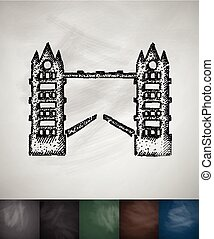 Tower Bridge icon. Hand drawn vector illustration