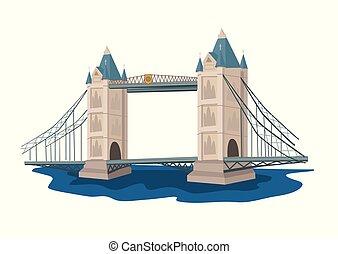 Tower Bridge illustration - Tower Bridge in flat style...