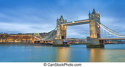 Tower Bridge in London city. sunset scene with blue sky