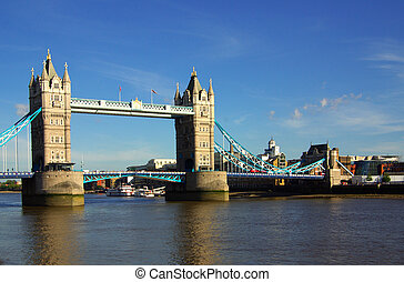 Tower Bridge in London, England in summer day