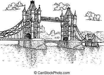 Tower Bridge in London Hand drawn