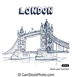 Tower Bridge in London. Hand drawn vector isolated on white