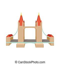 Tower Bridge in London icon, cartoon style