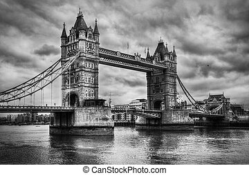 Tower Bridge in London, the UK. Black and white, artistic ...